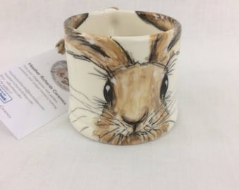 small hare mug, hare painting, ceramic mug, demitasse, espresso coffee mug, wildlife, handmade ceramic