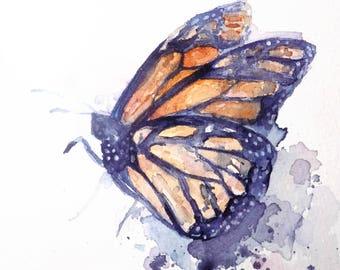 Monarch Butterfly Watercolor Original Art Study 5 x 5 Acid Free Paper