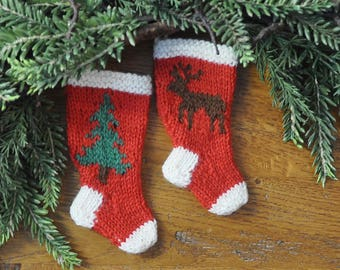 Pine Tree and Reindeer Hand-Knit Christmas Stocking Ornaments