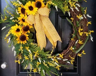 Extra Large Grapevine Wreath Sunflowers Burlap Ribbon Spring Summer Mothers Day Wedding Year Round Door Decor