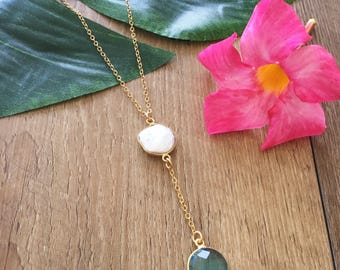 New! Coin Pearl Lariat Necklace