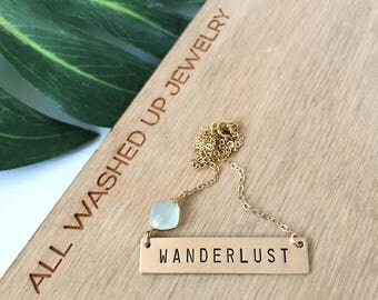 Stamped WANDERLUST Bar Necklace Layering Nameplate Bohemian