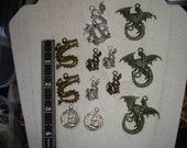 Dragon Pendant Patina Dragon Pendant Dragon Mixed Lot 12 pc dragon lot mixed dragons dragon charms silver dragon bronze dragon charm mixed