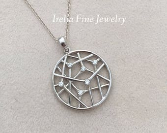"""SALE ITEM: Sterling Silver Circle Pendant With Cubic Zirconias on  18"""" Long Necklace"""