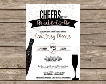 Champagne Rose Gold Bridal Shower Invitation