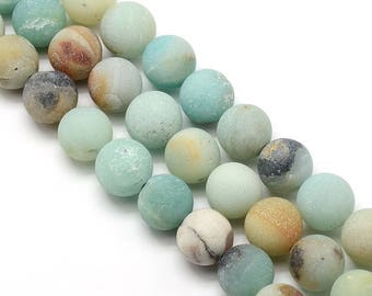 10 x 10mm Amazonite Frosted (matte) round beads
