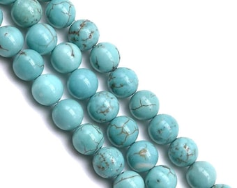 10 x 10mm (reconstituted) TURQUOISE round beads