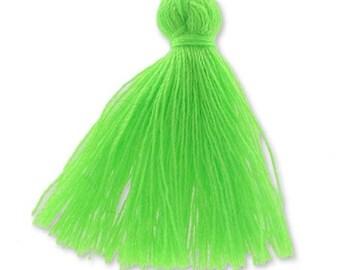 30mm neon green cotton tassel