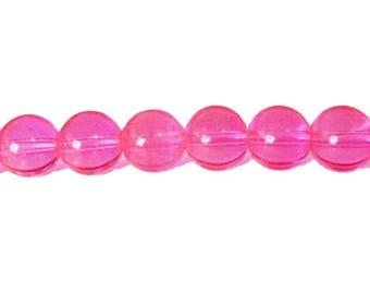10 x 10mm NEON pink neon glass round beads