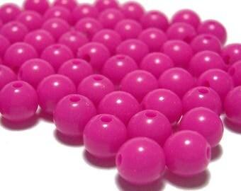 round beads 10 x 10mm FUCHSIA pink plastic