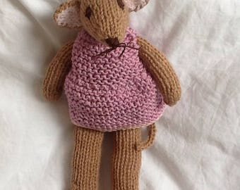 Cute mouse toy, knitted stuffed mouse, baby crib toy, soft baby mouse plush, handmade mouse toy