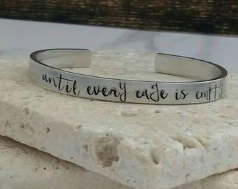 Until every cage is empty fun font vegan bracelet - adjustable - handstamped - unisex