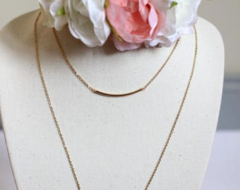 Gold filled long curved tube necklace