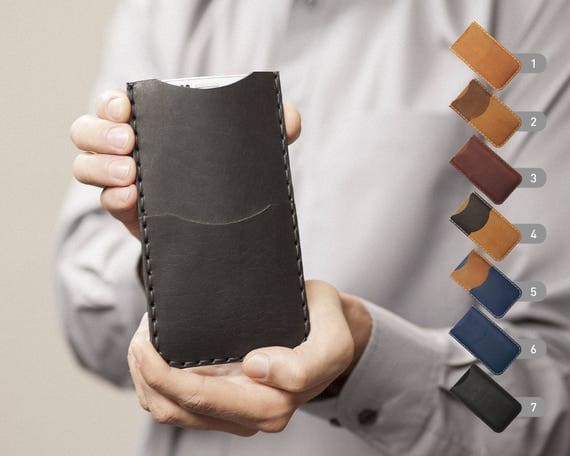 iPhone X 8 7 SE 6/6S Plus, 5/5S/5C, 4/4S Cover Case Wallet Genuine Waxed Leather Sleeve Rough Style Shell Credit Card Holder Custom Sizes