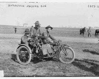 Motorcycle Machine Gun Setup, Early 1900's, Photo Print