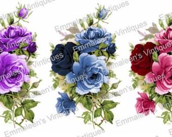 Vintage Shabby Victorian Roses Waterslide Decals U PICK COLOR Pink Blue Purple~ FL471