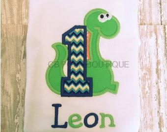 Personalized Dinosaur First Birthday Shirt