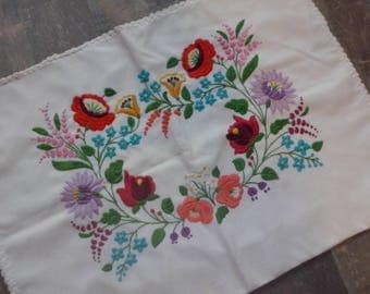Traditional Hungarian Flower Hand Embroidery Pillow Case Pillow Sham