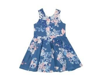 Dala Blue Floral Tank Mini Twirl Dress