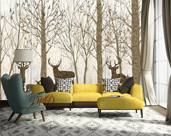 High Quality Woodland Wall Mural, Wall Coverings, Brown Tree On Grain Wall, Wood  Wallpaper, Part 26