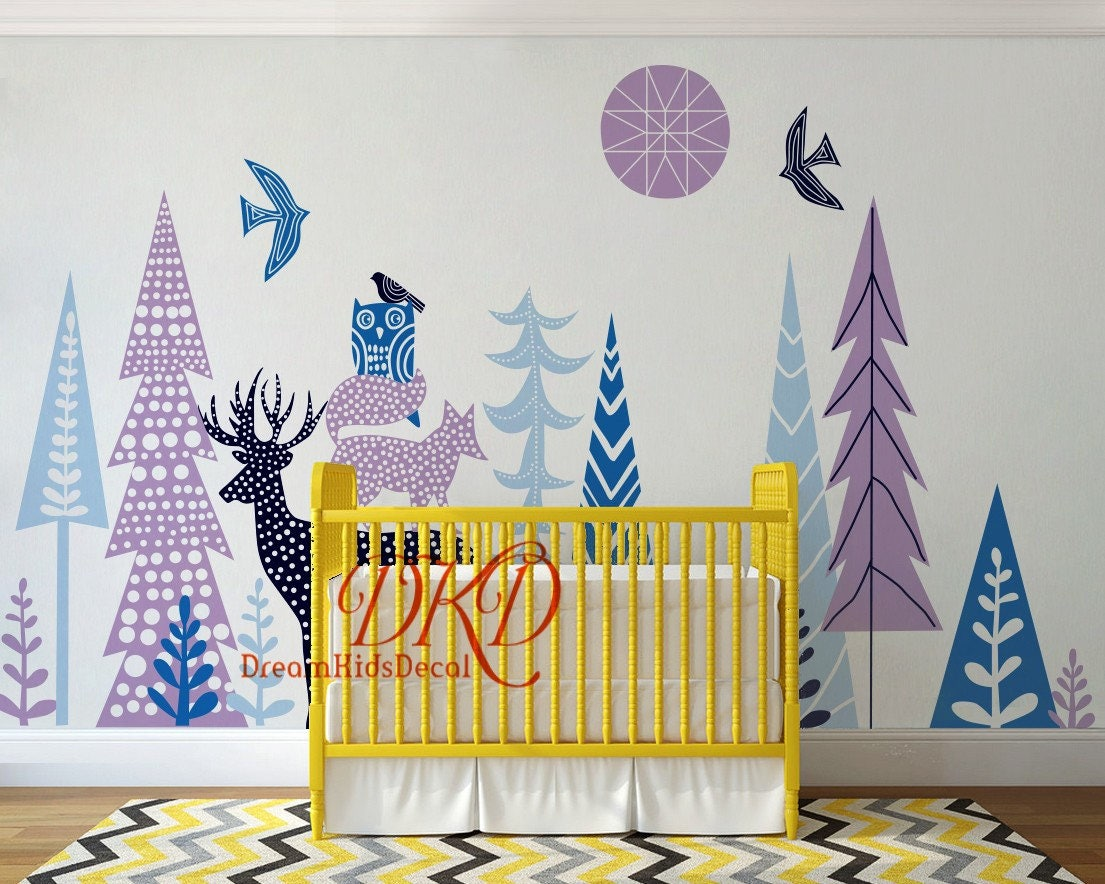 Woodland forest nursery wall decal kids room decal vinyl wall woodland forest nursery wall decal kids room decal vinyl wall sticker mountain wall decor amipublicfo Choice Image
