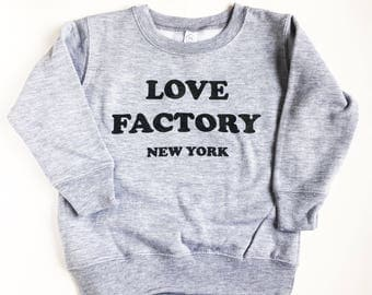 Love Factory New York logo crewneck kids sweatshirts and adult crewneck sweatshirts heather gray-matching outfit-kids outfit-toddler tops