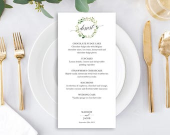 Greenery Wedding Dessert Menu Template, Printable Dessert Menu, Table Menu,  Garden Wedding Dessert  Dessert Menu Template