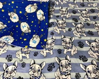 Flannel Blanket - Dog Blanket frenchie french bulldog boston terrier