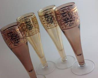 Set of 4 Stunning and Ornate Cordial Stems Glasses After Dinner Drinks Entertaining Fine Dining Aperitif Set High End