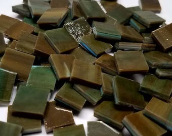 Olive Ocean Stained Glass Mosaic Tiles