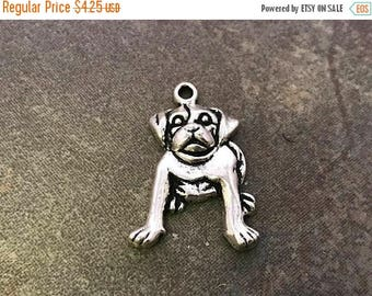 On Sale NOW 25%OFF Bulldog Pendants For Leather Or Chain - Antique Silver - Z4335 - Qty 4