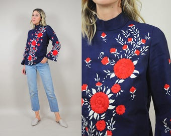 60's Embroidered Floral Bouse