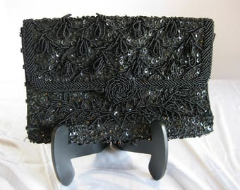 "Vintage black beaded evening purse, beautiful sequin and beadwork design with ""rose"" center"