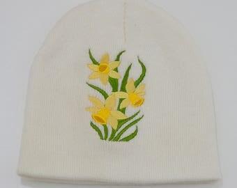 Daffodil Beanie - Winter Hat - White Cuff less Beanie