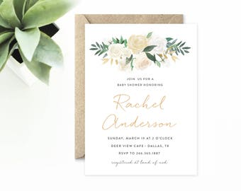Elegant Baby Shower Invitation, Simple Rustic Invitations