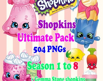 Digital Collage Shopkins Ultimate Set of 504 Printable Image clipart Serie 1 to 8 + Gemma Stone exclusive Shopkins - Download