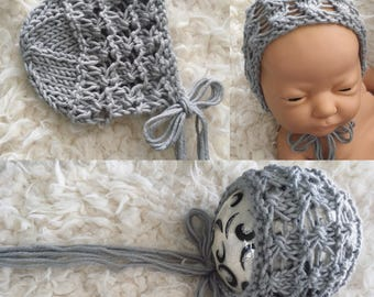 Newborn size knit bonnet,ready to ship,photo prop,gift,coming home,ready to ship