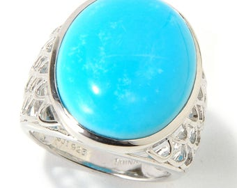 Sterling Silver 20X15 Oval Cut 13.45ctw Turquoise Ring SZ 8