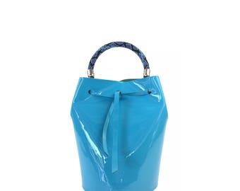 Lacquer Leather Mini Bucket Bag (Blue)