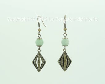 Earrings with diamonds and jade charms