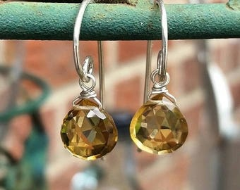 SALE Smokey Citrine and Sterling Silver Earrings, November Birthstone, Sparkling  Briolettes, Smokey Yellow Jewels