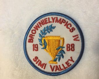 Unused Brownielympics IV 1988 Simi Valley Patch, 1988 Girl Scouts Brownielympics Patch
