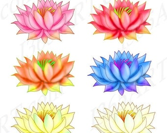 50% OFF Lotus Clipart,  Lotus Clip art, Lotus Graphics, Rainbow Colors, Party Invitations, Scrapbooking, Digital Stamps, PNG & JPEG 6 x 4, D