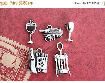 Summer Sale 5 pcs Wine Charms Collection Antique Silver (MC11)