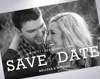 Save The Date Postcard | Custom Save the Date | Photograph Save the Date | Engagement Announcement | Save The Dates with Calendar