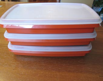 TUPPERWARE Deli Keeper Set 3 Paprika Red Meat Cheese Cold Cut #816~817 Lot VTG