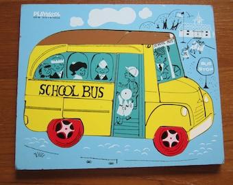 Vintage Wood Puzzle Playskool School Bus