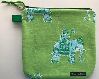 Medium Green/Blue Elephant Zip Pouch (Lily Pulitzer Fabric)