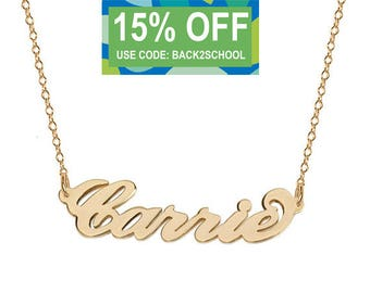 Personalize name 14k solid gold Carrie style necklace any name handmade pendant