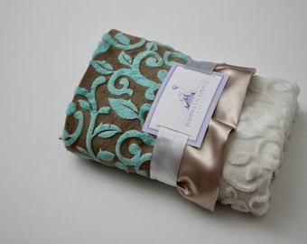Mar Bella Minky Granada Cuddle Marina Baby Blanket with Champagne Satin Ruffle Trim - New Baby, Shower Gift, Unisex